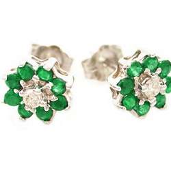 Diamond and Emerald Flower Earrings in 14k White Gold Studs