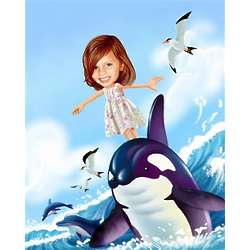 She's Having a Whale of a Time Caricature from Photos Art Print