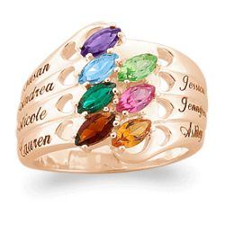 Family Name and Marquise Birthstone Hearts Ring