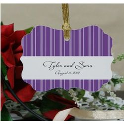 Personalized Striped Wedding Favor Ornament