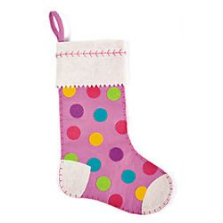 Girl's Pink Polka Dot Stocking