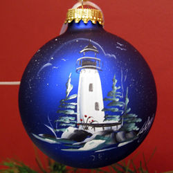 Hand Painted Midnight Blue Lighthouse Ball Ornament