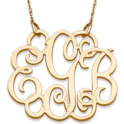 14K Gold 3-Initial Fancy Monogram Necklace