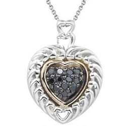 Black Diamond Heart Pendant in Silver and Pink Gold