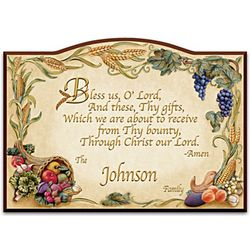 Family's Personalized Bless Us, O Lord Wooden Welcome Sign