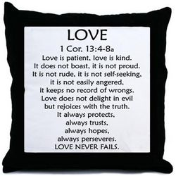 Love Is Patient Bible Verse Throw Pillow