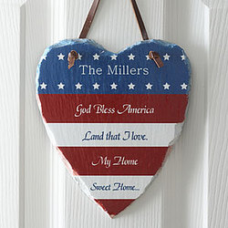 Americana Personalized Heart Slate Plaque