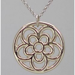 18k White Gold Open Rosette Pendant