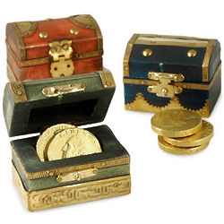 Miniature Handmade Golden Wood Treasure Chest