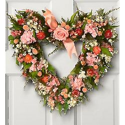 Pink Rose and Hydrangea Heart Wreath