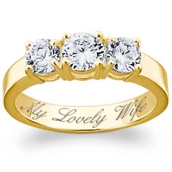 Engraved Cubic Zirconia Trio Ring