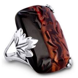 Autumn Waltz Carved Tiger Eye Bold Ring