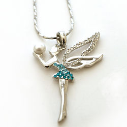 Rhinestone and Pearl Fairy Necklace