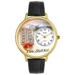 Ten Commandments Black Leather Band Watch