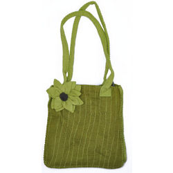 Striped Felt Flower Handbag