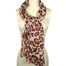 Large Leopard Print Viscose Scarf
