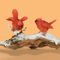 Cardinal Pair on Winter Branch Figurine