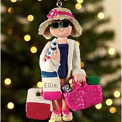 Personalized Beach Lady Ornament