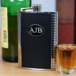 Engraved Leather and Stainless Steel Flask