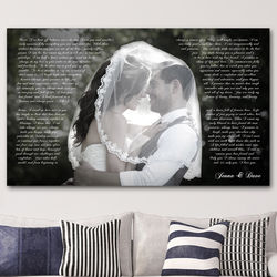Custom Photo Word Art Canvas Print for 2nd Anniversary