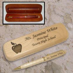 Personalized Teacher's Apple Wooden Pen & Case Set