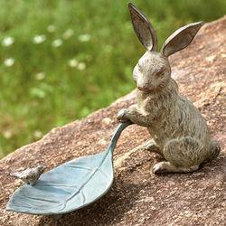 Rabbit and Leaf Birdbath