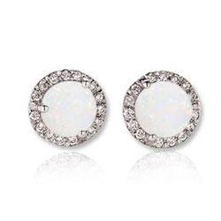 14k White Gold Opal and Diamond Stud Earrings