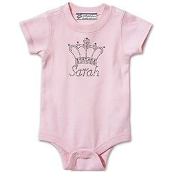 Personalized Rhinestone Baby Romper with Crown