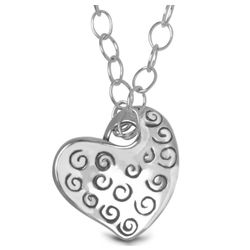 Recycled Sterling Silver Heart Charm Necklace