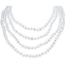 "80"" White Freshwater Cultured Pearl Necklace"