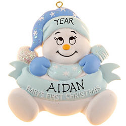 Baby Boy First Christmas Snowbaby Banner Ornament