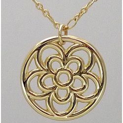 18k Yellow Gold Open Rosette Pendant
