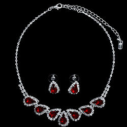 Silver Tone Red Rhinestone Crystal Bridal Necklace & Earrings Set