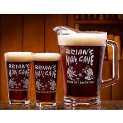 Personalized Man Cave Pint Glass and Pitcher Set