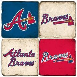 Atlanta Braves Tumbled Italian Marble Coasters