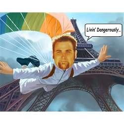 Parachute Jumper Personalized Caricature Print