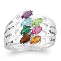 Sterling Silver Family Name and Marquise Birthstone Hearts Ring