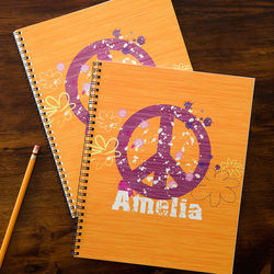 Personalized Kids Peace Sign Notebooks