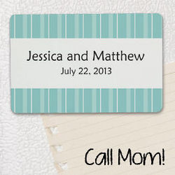 Personalized Striped Wedding Favor Magnet