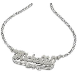 Sterling Silver Small 3-D Script Name Pendant with Diamond Accent