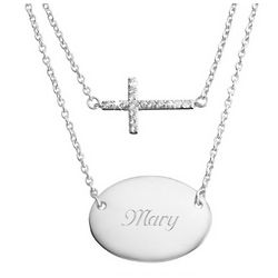 Sterling Silver Duo Cross Necklace