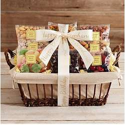Nuts, Sweets and Snacks Gift Basket with Personalized Ribbon