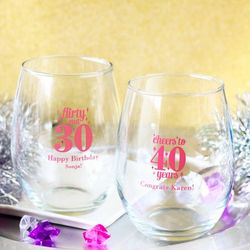 Milestone Birthday Personalized Stemless Wine Glasses