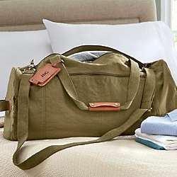 Canvas and Leather Duffle Bag with Personalized Luggage Tag