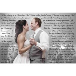 Custom Photo Vows Canvas Print for 1st Anniversary