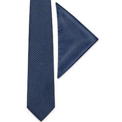 Mini Polkadot Pattern Printed Silk Tie & Pocket Square