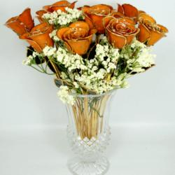 """One Dozen 11"""" Orange Rose Splendor Bouquet"""