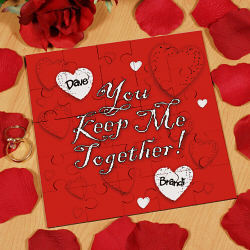 Keep Me Together Personalized Square Shaped Wood Jigsaw Puzzle