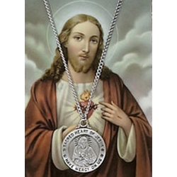 Pewter Sacred Heart Medal with Prayer Card