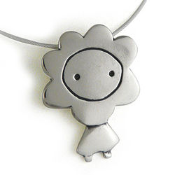 Flower Girl Sterling Silver Charm Necklace